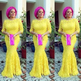 dresses fashion nigerian 2019 - 2019 Nigerian Yellow Mermaid Evening Gowns Half Sleeve African Prom Gowns Elegant Full Lace Long Party Dresses for Women