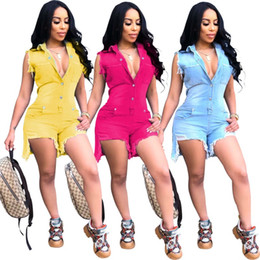 $enCountryForm.capitalKeyWord NZ - Womens jumpsuits jean jumpsuits jeans fashion solid rompers one piece shorts jeans slim jumpsuit 3 colors jeans klw1184