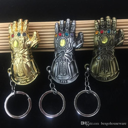 marvel toys wholesale UK - 7cm Marvel Avengers Gloves Keychain Infinity War Thanos Gauntlet Keychain Kid Halloween Toys 4 colors Thanos Glove Alloy Key Chain BH1987 ZX