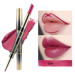 Discount 24 hour lasting lipstick - 24 Hours 2in1 Lipstick Long Lasting Fashionable Useful Waterproof Double-side Matte Lip Liner Double-end Makeup Lipstick