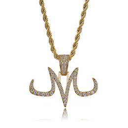 $enCountryForm.capitalKeyWord Australia - New Fashion 18K Gold Plated Iced Out Diamond Personalized Tattoo Mark M Letter Pendant Necklace Full CZ Cubic Zirconia Jewelry Gifts for Men