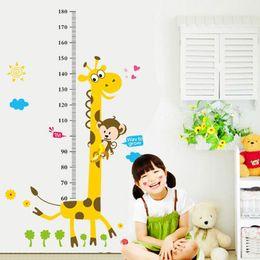 Wall Stickers Giraffe Growth Chart NZ - Cartoon Giraffe Monkey Child Height Wall Stickers For Kids Baby Rooms Animal Self-adhesive Wall Decals DIY PVC Art Mural Poster