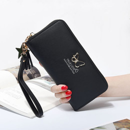 Wrist Wallet Purses Australia - Fashion Butterfly Women Wallet Wrist Handle Phone Case Long Section Money Pocket Pouch Handbag Women's Purse Card Holders 2019