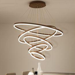 $enCountryForm.capitalKeyWord Australia - High quality rings Modern Led Chandelier For Living Diningroom Kitchen luminaire suspendu Hanging Pendant chandelier lighting