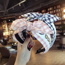 Wholesale Plaid Hand Made Tie Knot Hair Accessories For Girls Hair Bows Yarn Weaving Band Colorful Headbands For Women