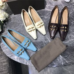 Shoe box packaging online shopping - Ladies leather heels Square cut mid heel business dress shoes Metal buckle wedding shoes heel height cm With shoe box packaging