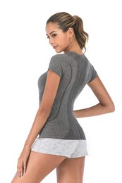 Wholesale gray color t shirt for sale – custom yoga short Sleeve Crew Gym Women Fitness T Shirt Woman Long Sleeve Yoga Top Womens Gym Tops Sport Wear Women GYM Running Top yogaworld