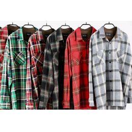 Blue flannel shirt men online shopping - 2019SS Fashion justin bieber tartan clothing fog fear of god flannel Men Long sleeved shirt Hip Hop plaid oversized shirts S XL