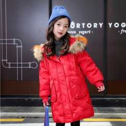 Girls' Clothing Warm Hooded Wool Collar Coat Down & Parkas Medium And Large Size Girls Down Jacket New Korean Version Of Thickening Parent Child Clothing
