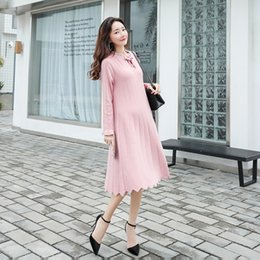 knitted maternity dresses Canada - 2019 New Autumn Winter Maternity Clothes Loose Long Sleeve Pregnant Women Dress Pregnant Women Basic Knitted Dress