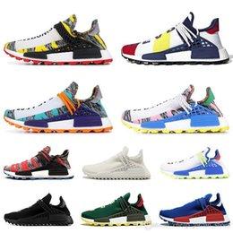 Cream For Women Australia - running Human Race Cheap running shoes for men women pharrell williams NERD BLACK white black blue green cream mens trainer sports sneakers