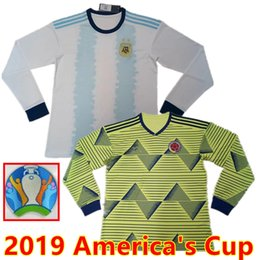 51889a52e With patch long sleeve 2019 Cop America Thai Quality soccer jersey Colombia  football shirts Argentina Camiseta de futbol Falcao James Messi