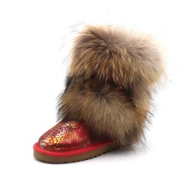 female big boots Canada - New Fashion Big Natural Fox Fur Woman Boots Warm Snow Boots Women Shoes Genuine Leather Winter Boots Female Shoes