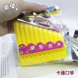 Green Plastic Wood Australia - Cartoon candy green plastic harmonica whistle children's gift manufacturers wholesale new