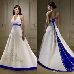 $enCountryForm.capitalKeyWord Australia - Vintage Royal Blue and White Wedding Dress Sweep Train Neckline A-Line Beaded Embroidery Design Satin Bridal Gowns Sleeveless Plus Size