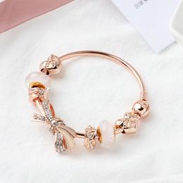 $enCountryForm.capitalKeyWord Australia - Rose Gold Women Diamonds Bow Bracelets chain Pandor Bangle cuff Fashion Jewelry Gift Big hole bead Bracelet Valentine's Day gift