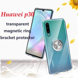 Wholesale for HuaweiP30 P30pro transparent mobile phone case Mate20pro magnetic ring adsorption all inclusive anti fall mobile phone protective case