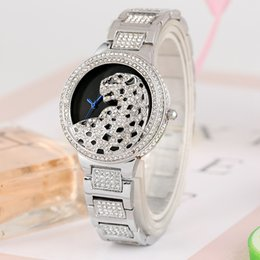 Fashion Leopard Watches Australia - Luxury Diamond Leopard Pattern Dial Watch for Women Classic Quartz Analog Watches for Lady Durable Alloy Strap with Hook Buckle Wristwatch