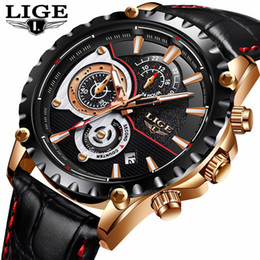 Luxury Sport Casual Watches Australia - Lige Mens Watches Top Brand Luxury Quartz Gold Watch Men Casual Leather Military Waterproof Sport Wrist Watch Relogio Masculino Y19052103