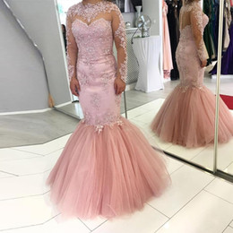 Full Length Robe Soiree NZ - Elegant Pink Lace Mermaid Long Evening Dresses With Full Sleeves Evening Gowns High Collar Semi Illusion Back Robe De Soiree Arabian Robes