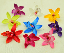 $enCountryForm.capitalKeyWord Australia - 8cm Fake Butterfly Orchid Silk Plastic Flowers Home Wedding Decoration Accessories Diy Christmas Wreath A Cap Artificial Flowers