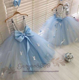 blue photo girl NZ - 2019 light blue girls pageant dresses bow sash butterfly applique Formal ball Gowns Backless with sliver sequined top Birthday Party Gowns