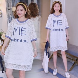 592d7caef 2019 real shot new embroidered maternity dress lace short sleeve long  section loose Korean version of the two-piece dress