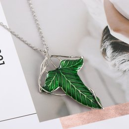 $enCountryForm.capitalKeyWord UK - 1Pcs 2019 Trendy The Hobbit Vintage Elf Green Leaf Necklace Pendant Pin Lord of the Rings Necklace Women Party Jewelry Wholesale