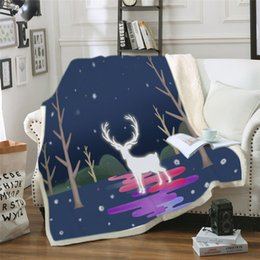$enCountryForm.capitalKeyWord Australia - Velvet Plush Blanket on the Bed Elk Planet Throw Blanket Deer Antlers Bedding Universe Galaxy cobertor