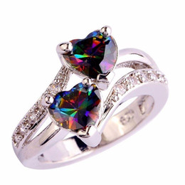 Mystic rings online shopping - Pretty Rings Mystic Rainbow Zircon Double Heart Love Rings Sterling Silver Plated Birthstone Jewelry Wedding Rings