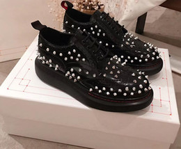 silver latex short Australia - 2019 Spring and Fall Luxury Fashion womens BLACK shiny real leather flat Rubber sole lace up Silver spike short ankle biker Combat boots