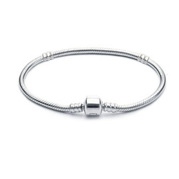 1pcs Drop Shipping Silver Plated Bracelets Women Snake Chain Charm Beads for pandora Bangle Bracelet Children Gift on Sale