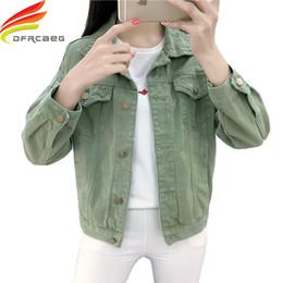 Wholesale khaki jeans jacket resale online – designer Candy Color Denim Jackets Women Spring Streetwear Pockets Button Single Breasted Female Jeans Jacket Women Denim Coat Y200101