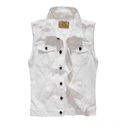 korean men down vest Canada - New Fashion Korean Style Ripe Denim Men's Outerwear & Coats Men's Clothing Vest White Men Sleeveless Jacket Slimming Retro Jeans Vest Cotton