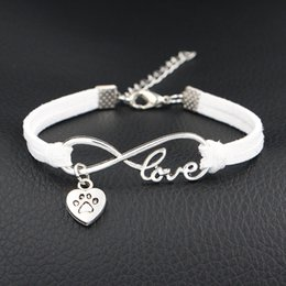 $enCountryForm.capitalKeyWord Australia - Han Edition Fashion Woven White Leather Suede Bracelets Simple Infinity Love Dog Paw Prints Heart Undertakes Accessories Jewelry Wholesale