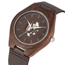$enCountryForm.capitalKeyWord UK - Handmade Walnut Wooden Quartz Watch Movement for Women Men Unique Hollow-out Dial Wristwatch Leather Strap Wooden Watches