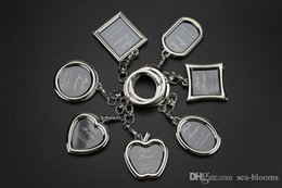 Business Car Australia - Free DHL 6 Style Metal Photo Frame Keychain Heart Rhombus Round Apple Shape Keyring Car Bag Key Chain Keychains Business Gift G304S F