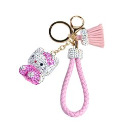 Mini Cat Cars UK - Luxury Ctue Mini Inlay Rhinestone Cat Hello Kitty Dolls Keys Chain Bag Charm Woman Pendant KT Car Key Chain Tassel Key Ring