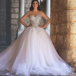 See Through Luxury Wedding Dress Australia - 2019 Middle East Luxury Ball Gown Wedding Dress with Shining Rhinestones See-Through Half Sleeve Wedding Gown Sheer Neck Bridal Gown