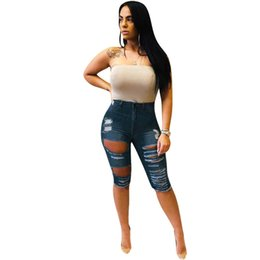 $enCountryForm.capitalKeyWord UK - New women jeans summer hole cut out vintage knee length fashion jeans classic casual pants trousers