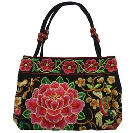 chinese cross bags UK - NEW-Chinese Style Women Handbag Embroidery Ethnic Summer Fashion Handmade Flowers Ladies Tote Shoulder Bags Cross-body (Purple B