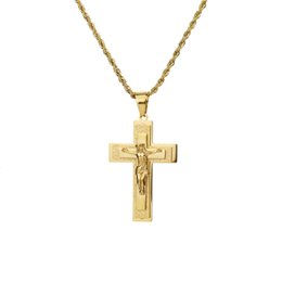 mens crosses crucifixes Canada - Cross Rucifix Jesus Piece Pendant Necklace Gold Color Men Women Stainless Steel Chain Catholic Crucifixes Mens Necklace Pendant