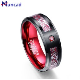 Tungsten Wedding Rings Australia - Nuncad Hot Sales Tungsten Ring 8mm Wide Red Men's Classic Wedding Band Ring With Free Shipping Size 7 8 9 10 11 12 J 190515