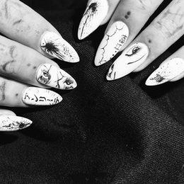 patterned acrylic nail tips 2019 - New black and white pure color with fashion caricature pattern fake nails Japanese punk style lady full nail tips false