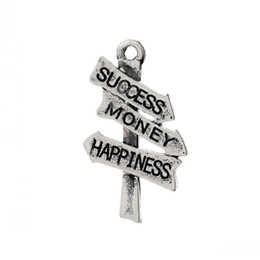 "$enCountryForm.capitalKeyWord Australia - Jewelry Findings Charm Pendants Vintage Road Sign Signpost Antique Silver Message ""Success Money Happiness""Carved 26mmx15mm,50Pcs"