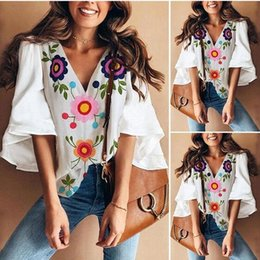 Wholesale vintage women summer blouse for sale – plus size Summer Fashion Blouses Women Vintage Floral Print Shirts Casual V Neck Flare Sleeve Blusas Plus Size XXL Sexy Tops