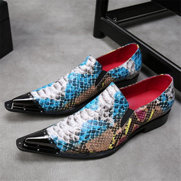 Discount high end pointed men shoes - High end point toe Stylist Shoes fashion snake pattern genuine Leather Men Dress Shoes punk rock style oxford
