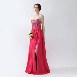 $enCountryForm.capitalKeyWord NZ - Hot Pink Chiffon Prom Dresses 2019 Vestidos Longos De Festa Sexy High Split Sleeveless Cheap Long Evening Dresses with Rhinestones