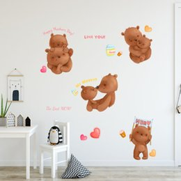 BaBy Bear stickers online shopping - Cartoon warm mother bear baby happy mother s day kindergarten children s room window landscaping decorative flat wall sticker