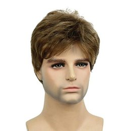 Mans Small Wig Australia - Lydell Men Wig Golden Brown Mix Short Straight Hair Synthetic Full Wigs 6 inches